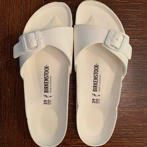 White, lightweight, rubber foam Birkenstock Slides